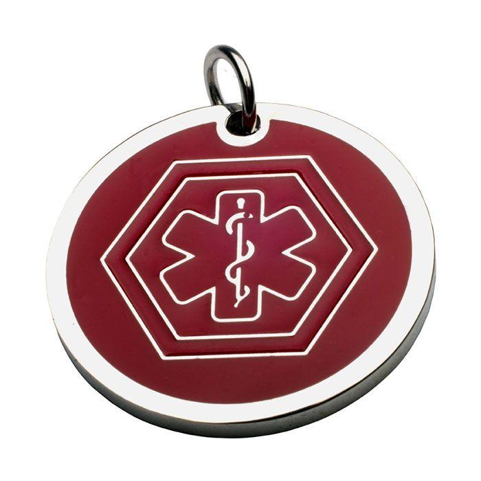Charm Redondo Con ID Medico En Rojo 13*13 Mm (INCLUYE GRABADO DE UN LADO SIN COSTO)