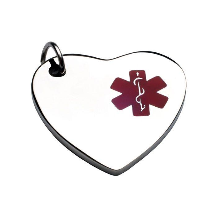 Charm Corazon Con  ID En Acero Símbolo Medico Rojo 13*14 Mm (INCLUYE GRABADO DE UN LADO SIN COSTO))