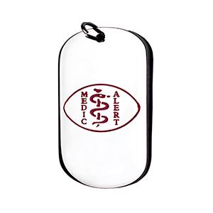 Medalla Colgante Dog Tag ID Acero Símbolo Medico Rojo 26*43 Mm