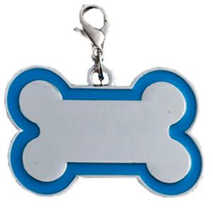 Id Hueso Para Mascota Color Plateado  Con Borde Color  Azul Claro 30*45 Mm