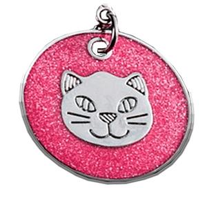 ID Circular Rosa Con Cabeza De Gato 25 Mm