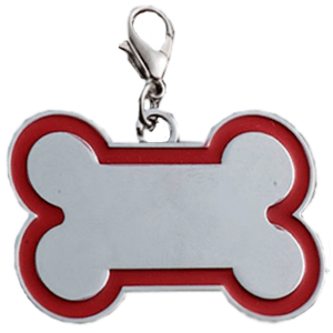 Id Hueso Para Mascota Color Plateado  Con Borde Color  Rojo 30*45 Mm