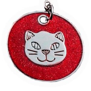 ID Circular Rojo Con Cabeza De Gato 25 Mm