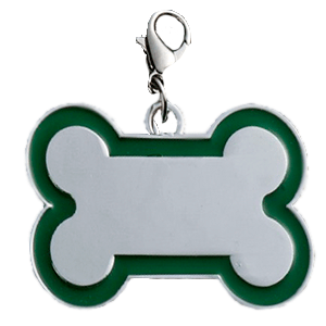 Id Hueso Para Mascota Color Plateado  Con Borde Color  Verde 30*45 Mm